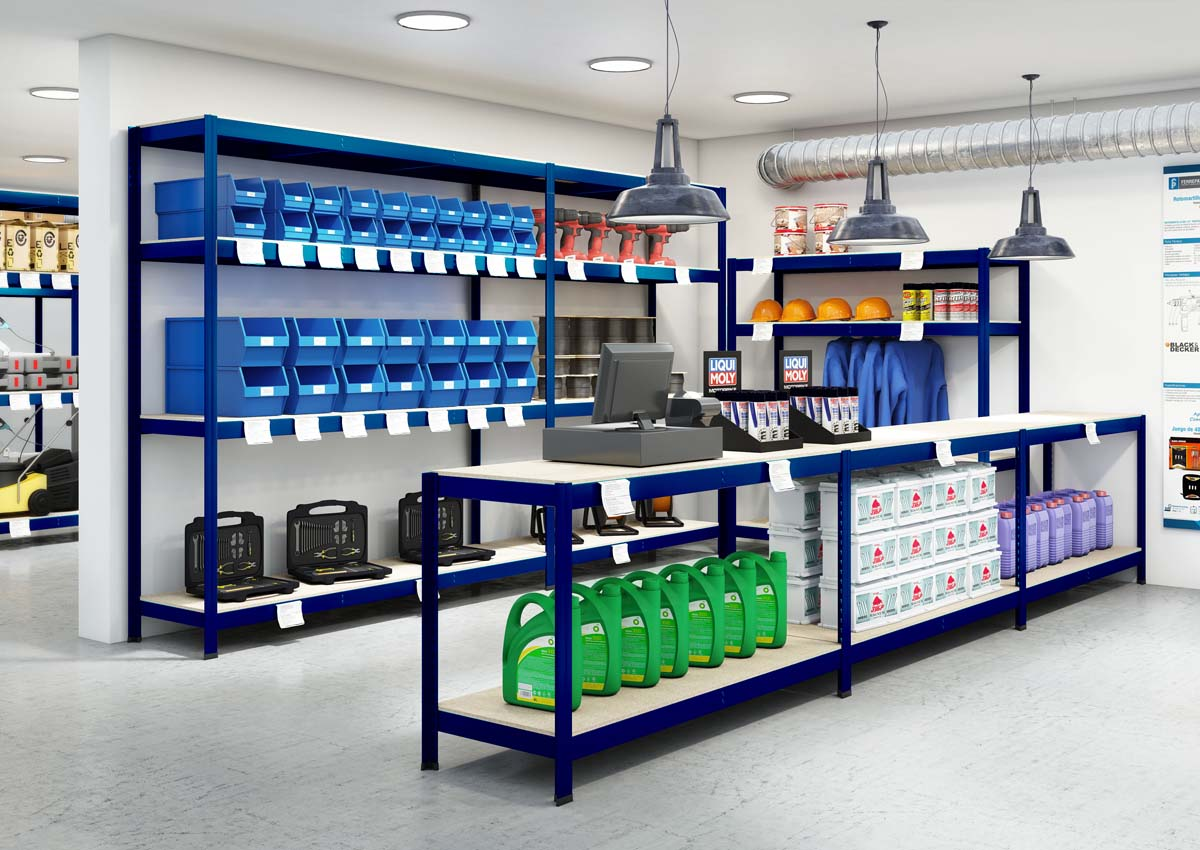 Stocker classic metal shelving for industries